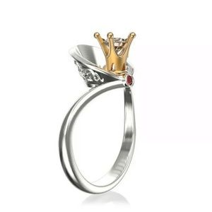 Silver Tone & Gold Tone Crown Crystal Design Ring